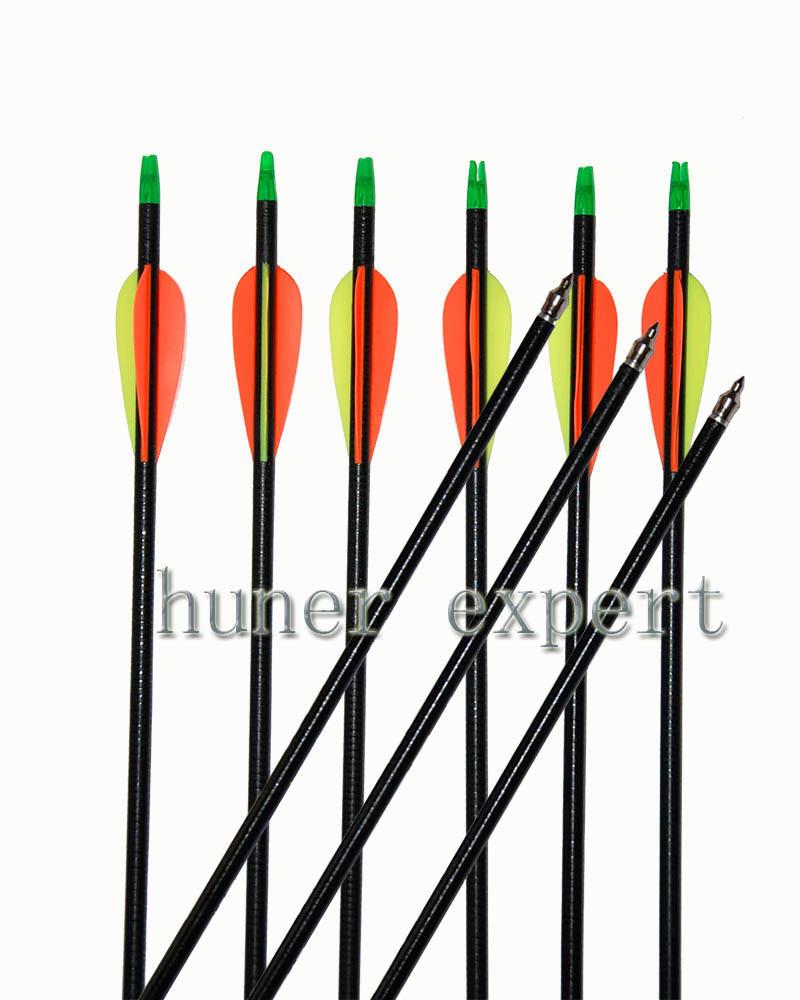 compound bow fiber glass arrows 12pcs shaft diameter 7.5-7.6mm with 2 expandable blade 100 grain arrowhead <br><br>Aliexpress