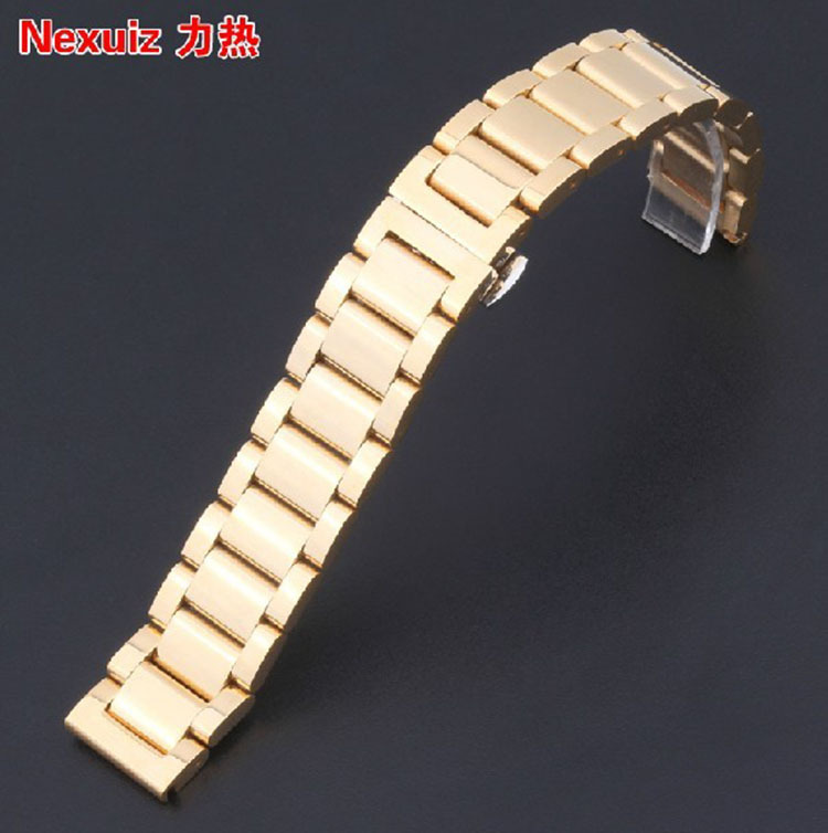 Gold Watch Band 18MM 20MM 22MM stainless steelwatchband strap bracelet butterfly clasp fit smart watch accessories free shipping<br><br>Aliexpress