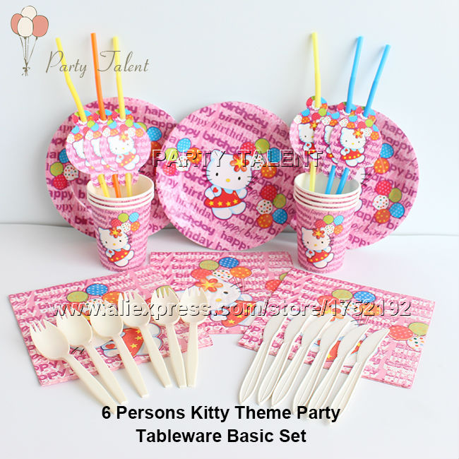 Party supplies 36pcs hello kitty theme 6 persons kids children party decoration tableware set, paper plates cups napkin ect.(China (Mainland))