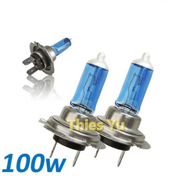 Car Auto H7 HID Xenon Headlight Halogen Bulb Lamp Head Light Super White 100W 12V 2pcs(China (Mainland))