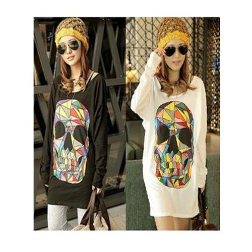 Free Shipping Womens Plus Size Fashions Loose Top Sugar Skull Bat Sleeve Shirt,Women T-shirts Tops and Shirts 2014 New ItemT0037(China (Mainland))