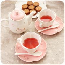 Japanese Ceramic Tea Cups Teapot Coffee Cup Set Green Pink Sakura Coffee Mug Set With Tray