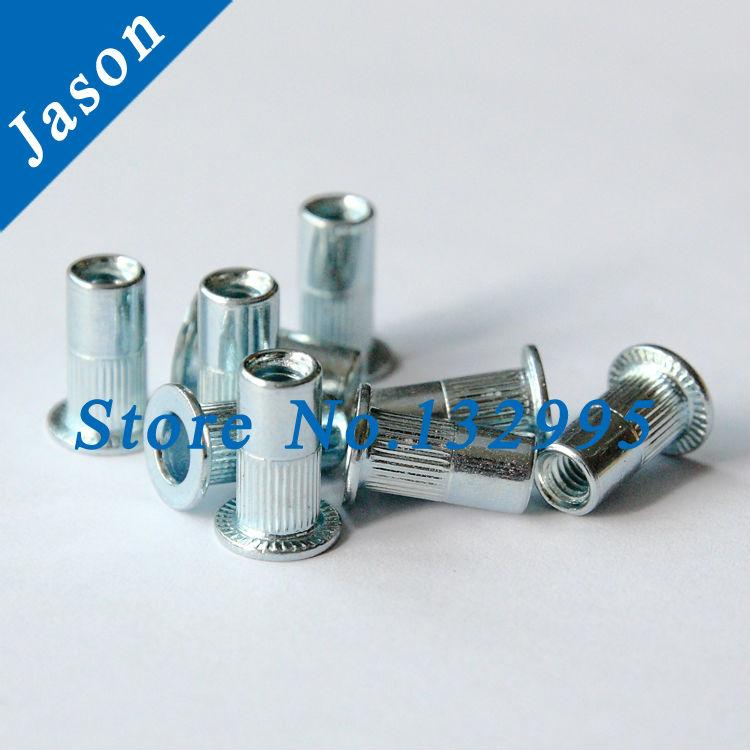 M4(M4*13)  Lengthened Rivet Nut Carbon Steel Flat Head Blind Insert Nut white Zinc plating Flat head rivet nut CSFHO<br><br>Aliexpress