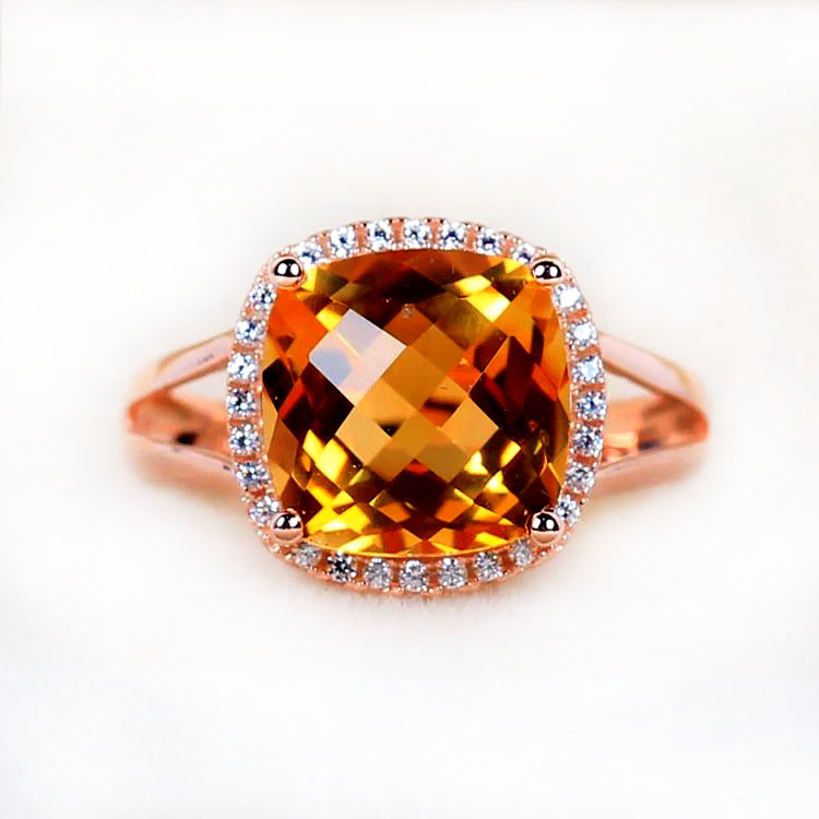 8mm large crystal ring for women 2.5carat 925 Stering Silver Luxury Jewelry square ring yelow crystal citrine fine jewelry<br><br>Aliexpress