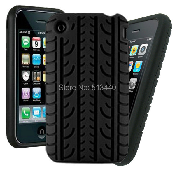 Pure Color Tyre Texture Silicone Case for iPhone 3G 3GS Smartphone Covers(China (Mainland))