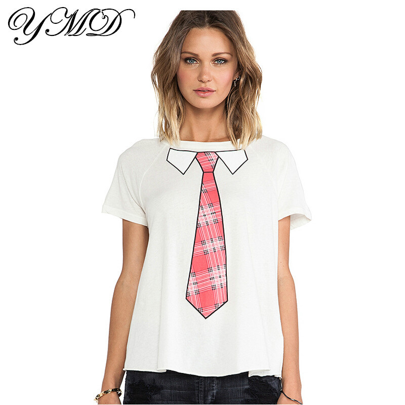 Casual cool print cotton short sleeve white t shirt summer for Trendy t shirts for ladies