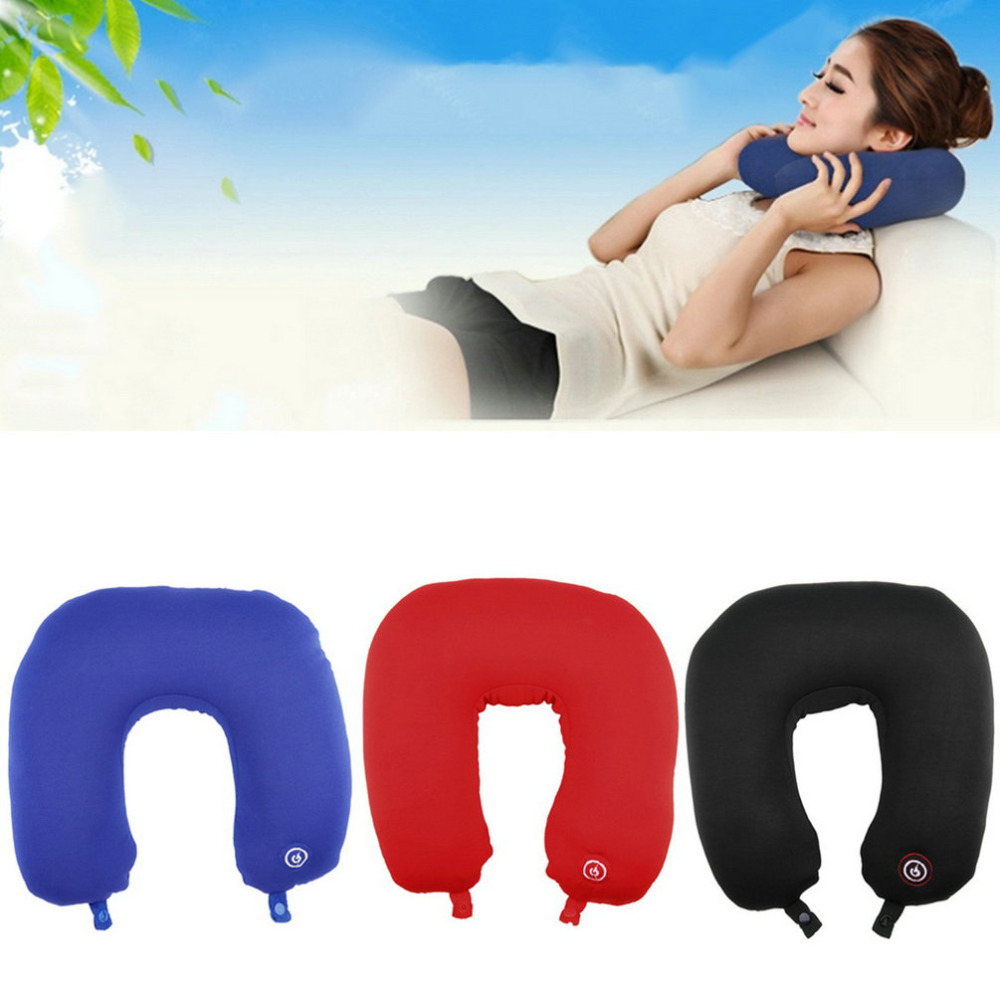 High Quality U Shaped Neck Pillow Rest Neck Massage Airplane Car Travel Pillow Bedding Microbead Battery Operated Vibrating(China (Mainland))
