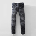 Luxury Designer Knee Hole Skinny Jeans Pants Men Black Distressed Denim Biker Jeans Destroyed Jens Acid