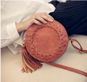 2016 new braided tassels bag  small round package fashion personality womens messenger bag zipper oblique satchel pu round bag<br><br>Aliexpress