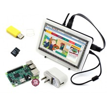 RPi3 B Package F# Raspberry Pi 3 Model B+ 7inch HDMI LCD 1024*600 IPS Touch Screen+Bicolor case+8GB Micro SD card+ Power Adapter(China (Mainland))