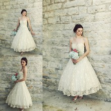 Buy Vintage 1950s Ankle Length Wedding Dress Antique Ivory Lace A-line Full Skirt Beach Bridal Gowns Plus Size Vestidos de Novia for $169.00 in AliExpress store