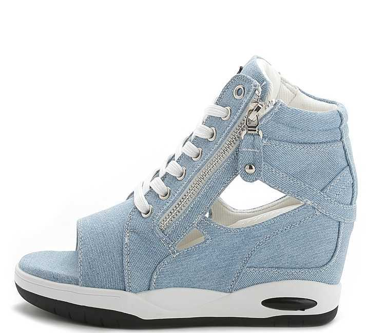 2015 New western style summer high heel slipsole denim material lace shoe zipper hollow out thick women shoes sandal H3771<br><br>Aliexpress