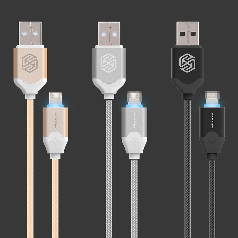Nillkin Aurora Luminous USB Data Cable 5V 2A Quick Charge Cable For Apple iPhone iPad iPod for Lightning Port Devices(China (Mainland))