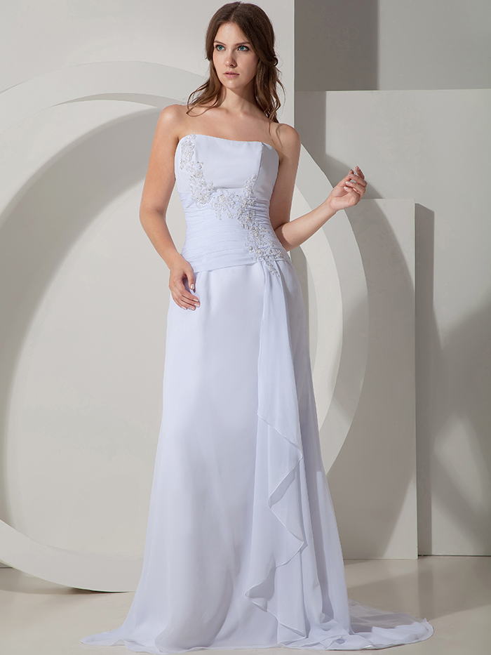 Simple long a line beach chiffon evening dresses informal for Simple cream wedding dresses