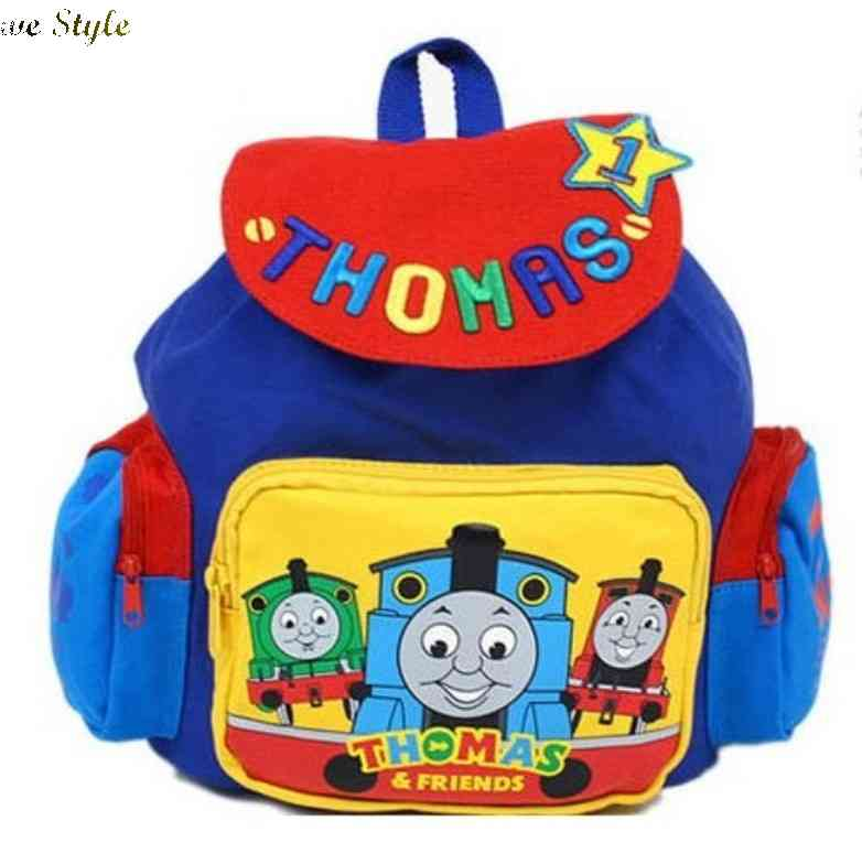 Free Shipping Thomas train cartoon childrens kindergarten school bags shoulder cloth backpack 1435661661(China (Mainland))