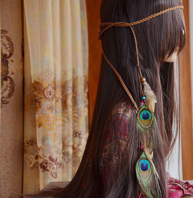 Fashion crown rope head chain woode brown beads colorful peacock feather headband headdress head band hair jewelry(China (Mainland))