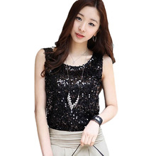 2016 Summer Cute Hot Fashion New Sleeveless T-Shirts Lady Sparkling Bling Singlets Sequined Vest Tops size S-XL for Women A1(China (Mainland))