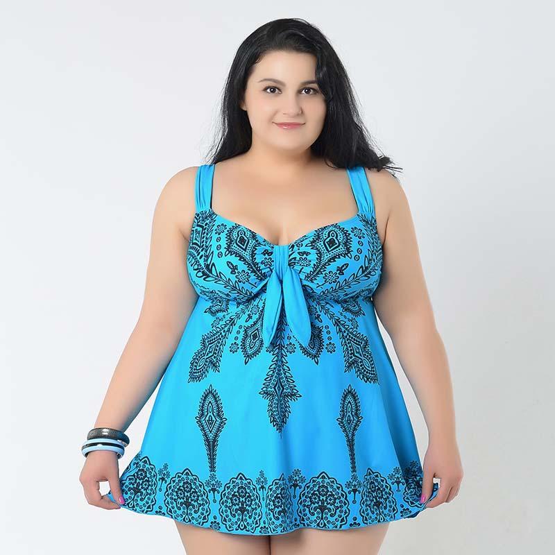 2015 new plus size swimwear swimsuit printed women summer dress one piece swimsuit bodysuit fat wear big bathing suits beachwear(China (Mainland))