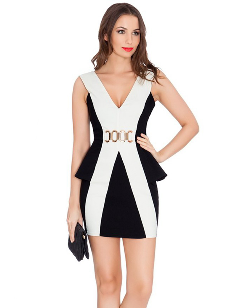 R80pep New Style Sleeveless Women O Neck Bodycon Sexy Office Peplum Flounce Bandage Female Pencil Dress