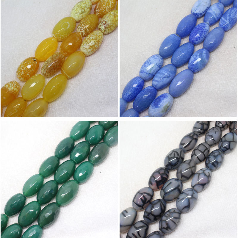 "18x27mm Faceted Yellow Blue Green black Agate DIY Oval Drum Bead loose beads 15""(China (Mainland))"
