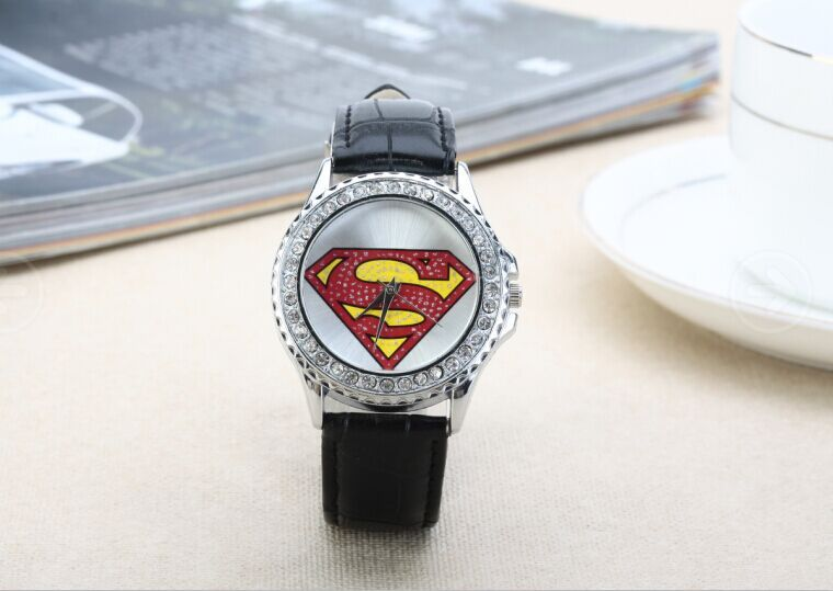 Free Shipping 2014 new fashion Wholesale Superman Watch,Quartz Cartoon watch diamond watch unisex fashion lovers watch<br><br>Aliexpress