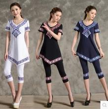 Free Shipping New Summer 2015 Women's Chinese Style Print Casual T-shirts Women Cotton Short Sleeve T-shirt  Women Clothing(China (Mainland))