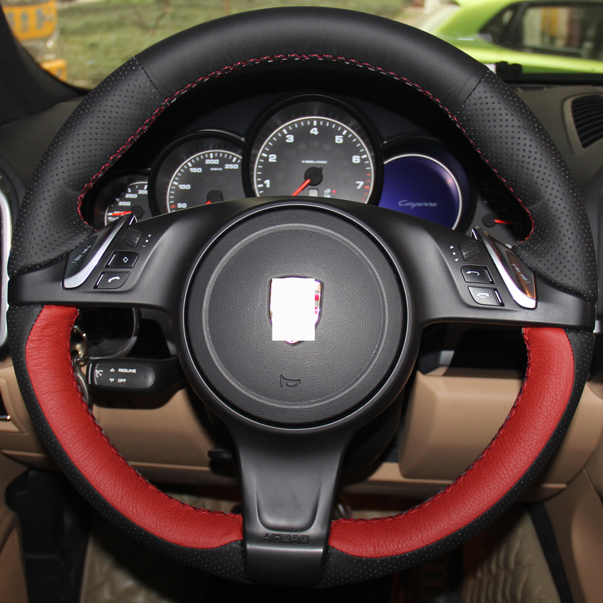 Dg Black Red Leather Steering Wheel Cover For Porsche