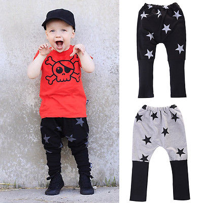 Fashion Baby Kids Boy Girl Star Casual Harem Pants Trousers Clothing 2-7Years(China (Mainland))