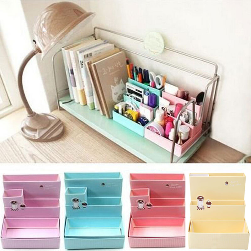 2016 DIY Paper Board Storage Box Desk Stationery Makeup Cosmetic Organizer Holder Stand School Office Desktop Accessories New(China (Mainland))