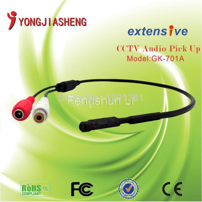10pcs free shipping MIni cctv microphone sound monitor audio voice pick up device RCA OUTPUT for CCTV Surveillance SystemYJS(China (Mainland))