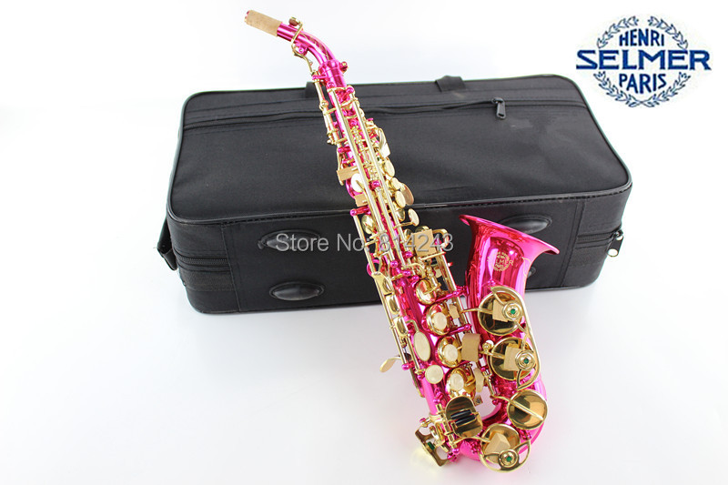 France Henry Selmer Soprano Saxophone Bending B Adjustment Sax Reference 54 Surface Gold Lacquer Pink Body Saxophone With Case(China (Mainland))