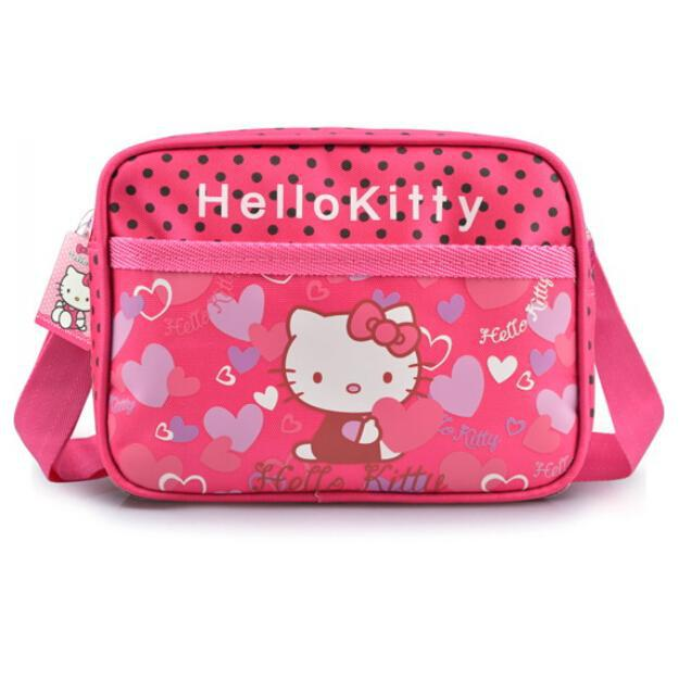 Hello Kitty Children School Bags Kids Messenger Bags Rose Red Color Cartoon Bags(China (Mainland))
