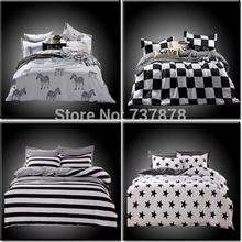 Home Textiles,cotton Polyester Black&white Plaid 4pcs bedding sets, bed linen, bed sheet + duvet cover +Pillowcase, Freeshipping(China (Mainland))
