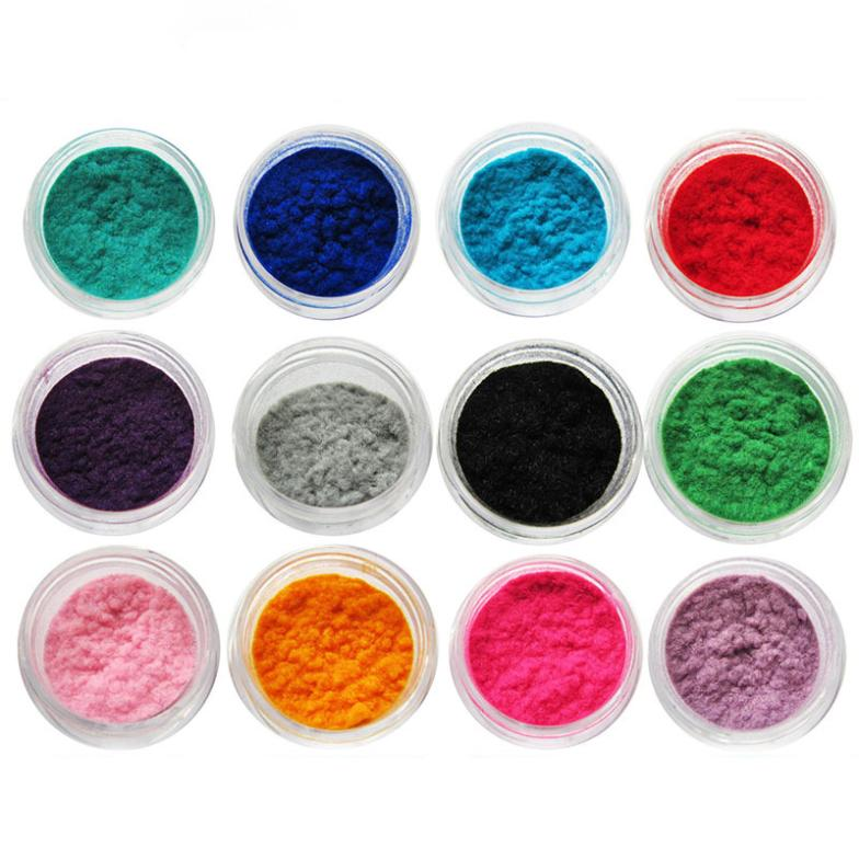 Nail 6 colors/lot flocking powder mixed 72 colors nail decoration velvet 3d colorful velvet mates nail gel for nail