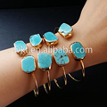 New 24K gold plated adjustable turquoise bangles natural stone adjustable banglesWT B097