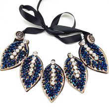 wholes and retail2014 fashion Charm Popular Beads Braid rope leaf blue rhinestone Necklace false collar for women  free shipping(China (Mainland))