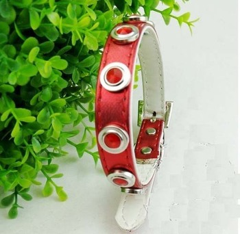 Hot fashion new PU leather Dog Collar Pets Collar for a small dog RED colour free shipping