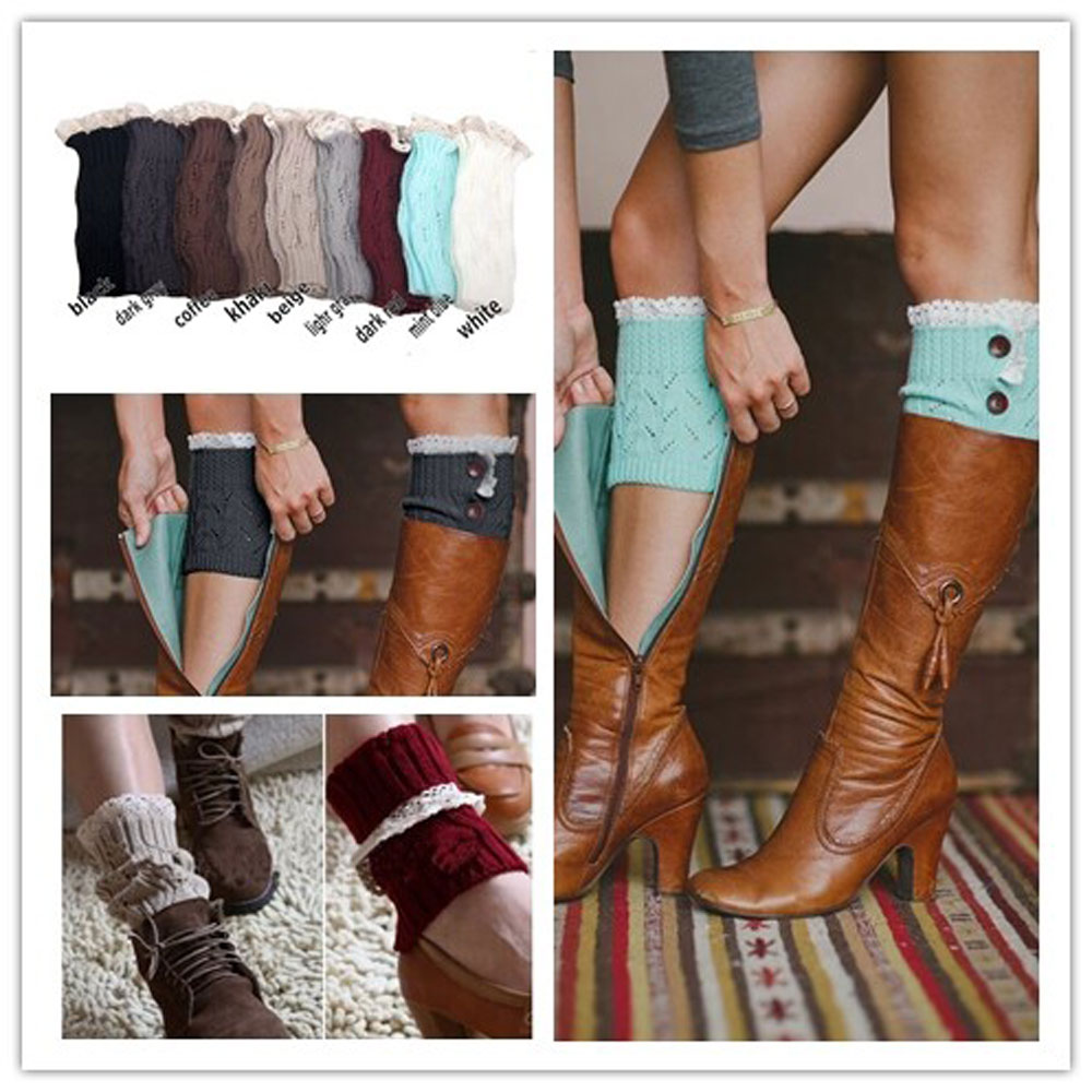 Luxury Women Crochet Knitted Lace Trim Boot Cuffs Toppers Liner Leg Warmers Sock(China (Mainland))