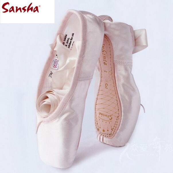 Professional Sansha Dance Shoes Canvas Satin Sansha Pointe Shoes Pink Women Girls Sansha Ballet Shoe Sizing FR29-FR43(China (Mainland))