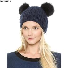 Cute Animal Hats Woman Winter Hat Pom Pom Fur Knitted Beanies With Cat Ears Solid Fashion Designer Caps Blue Black Pink