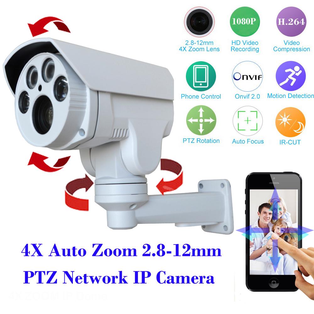 HI3516C+SONY IMX222 HD 1080P IP Camera 4X Motorized Auto Zoom 2.8-12mm Varifocal lens 2MP Outdoor PTZ IP Camera IR cut Onvif(China (Mainland))