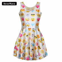 Summer Style Women Dress Sexy Cute Easiness Printed Emoji Dresses Jumper Fashion O-Neck Vestidos Ladies Cute Kawaii Dress F169(China (Mainland))