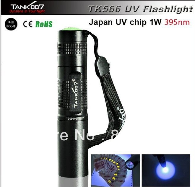 free shipping UltraViolet UV flashlight 1W 395nm LED Aluminum camping flashlight check monery,leak detector TANK007 TK566<br><br>Aliexpress