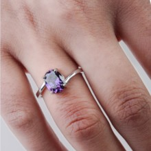 Platinum and rhodium-plated fashion jewelry gold ring inlaid purple zircon zircon manufacture full-size wholesale