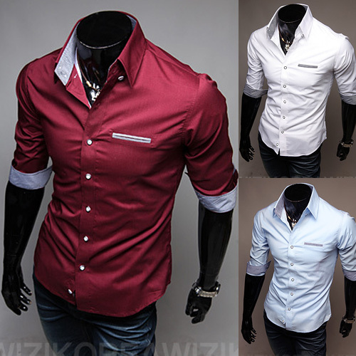 Free Shipping 2015 spring New Fashion Casual slim fit long sleeved men s dress shirts Korean