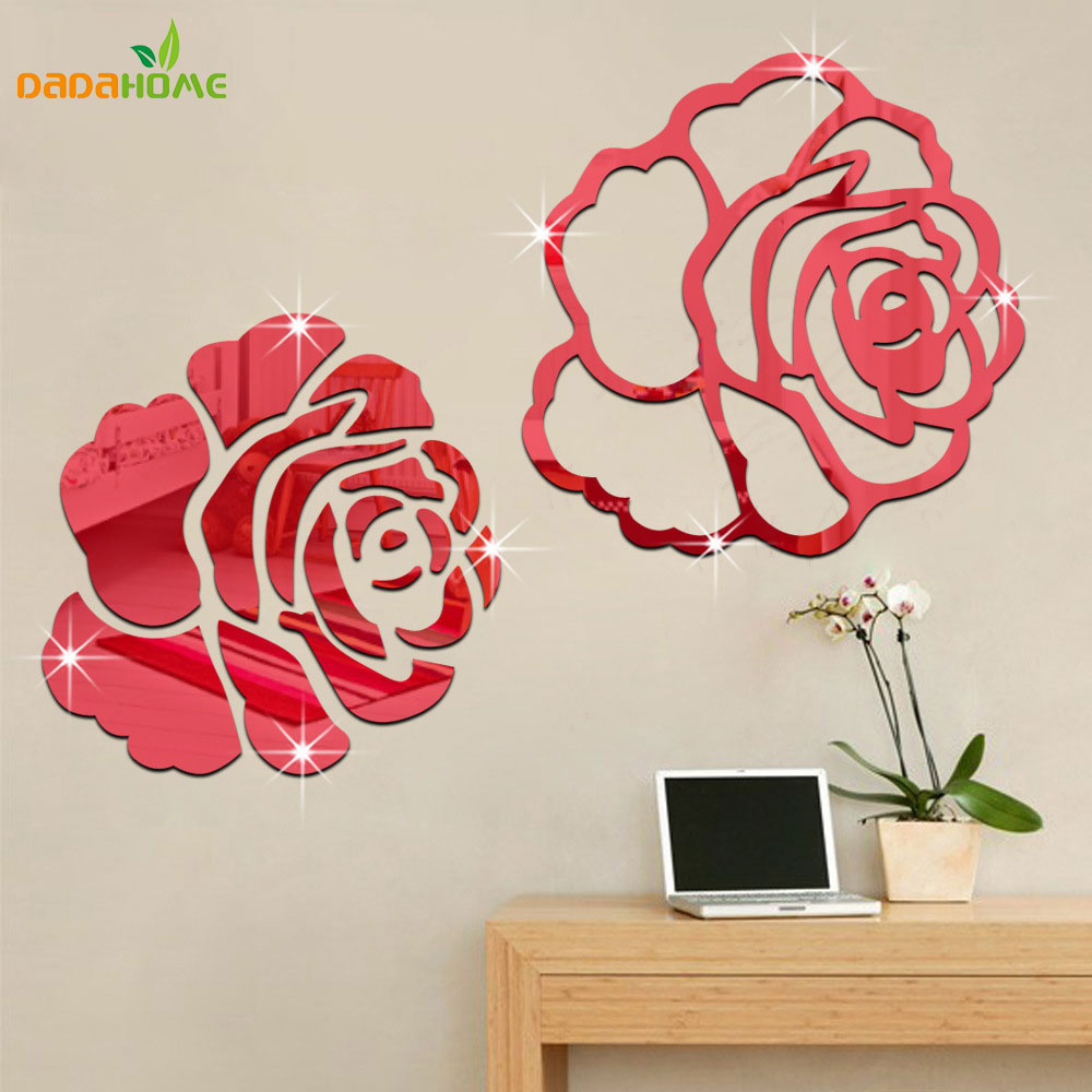 Rose 3d mirror wall stickers for wall decoration diy home for Auto collant mural