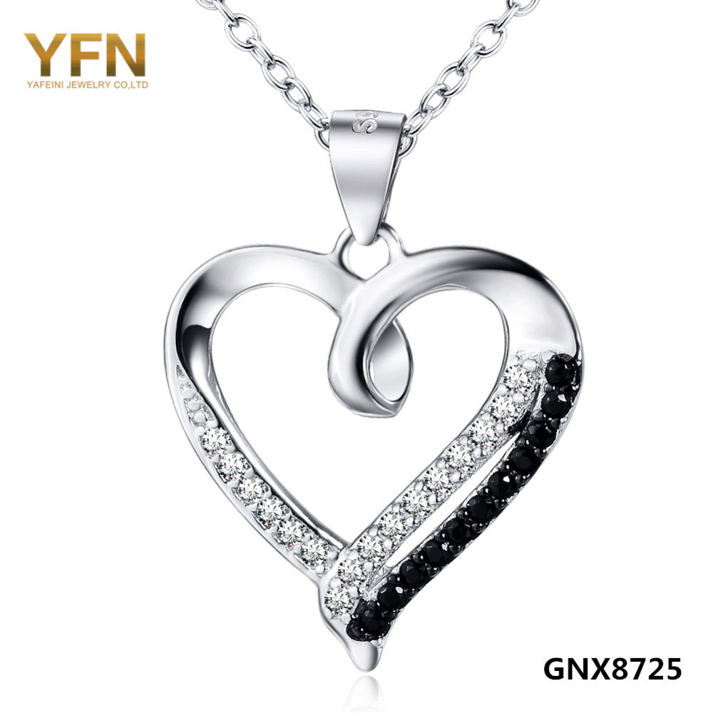 GNX8725 Genuine 925 Sterling Silver Necklace Fashion CZ Crystal Black and White Heart Pendant Necklace For Women Holiday Sale(China (Mainland))