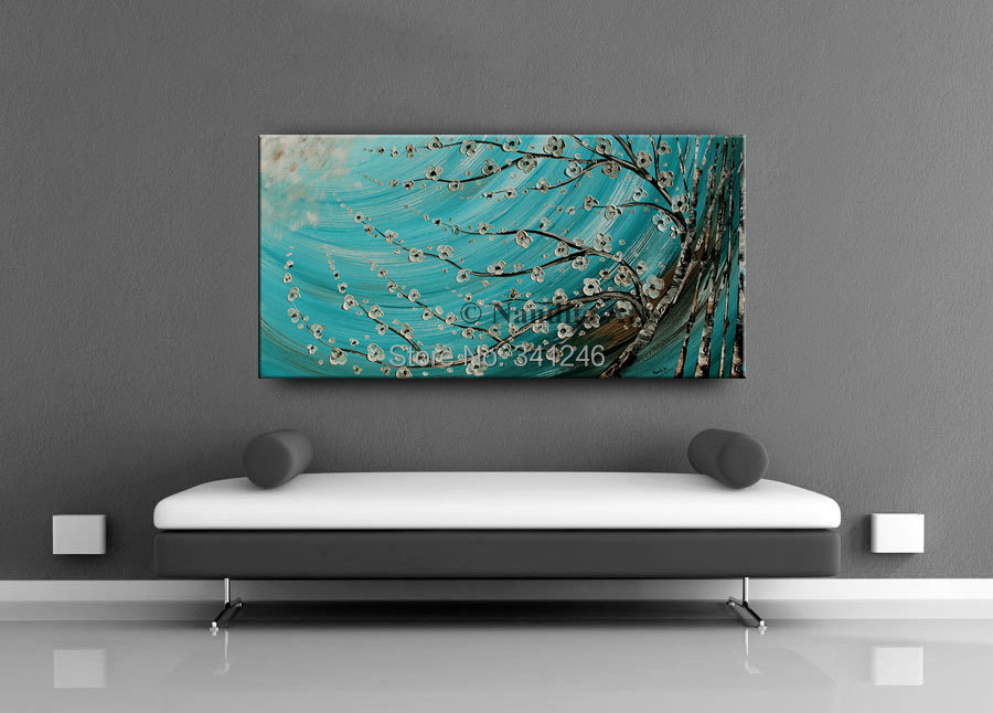 Buy NEW Hand-painted modern home decor wall art picture white flower brich tree thick paint palette knife oil painting on canvas cheap
