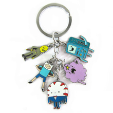 Adventure time toy figure keychain Finn and Jake Beemo BMO Penguin pendant key ring for kids gift(China (Mainland))