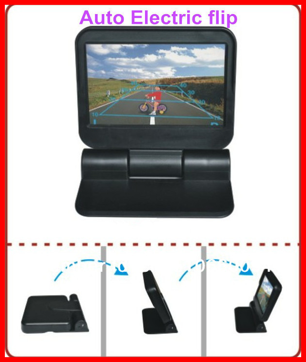 2 years warranty 4.3inch digital TFT LCD monitor with Auto Electric flip/automatically on DVD/minotor/ Av in parking camera(China (Mainland))